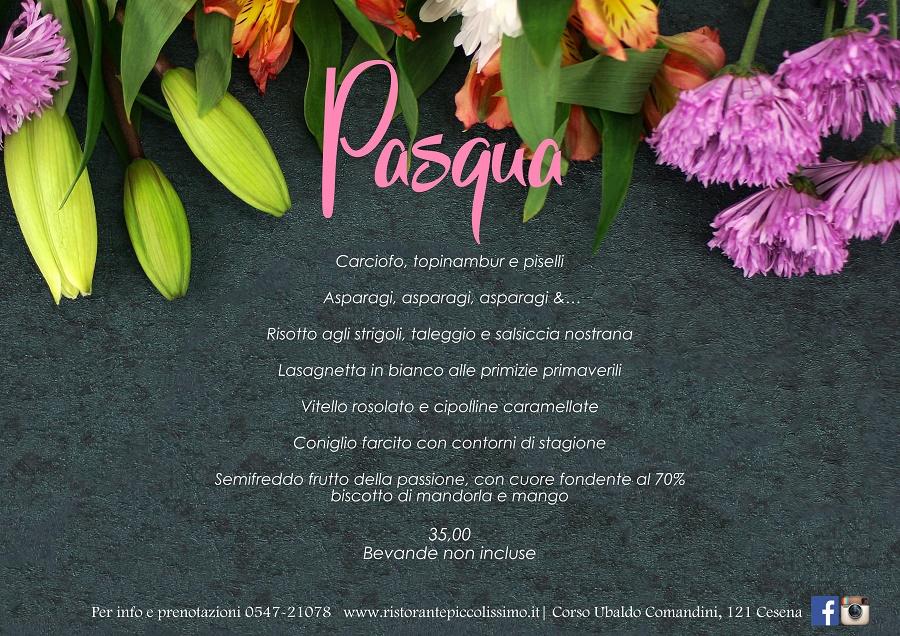 Pasqua 2018 a Cesena menu del ristorante Piccolissimo